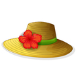 A brown fashion hat with a flower vector image vector image
