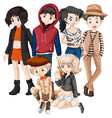 a group of teenager vector image vector image