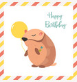 birthday card with hamster and balloon vector image vector image