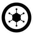 business network icon black color in circle or vector image vector image