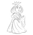cartoon image of queen with crown vector image vector image