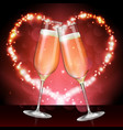champagne glass on holiday red background vector image
