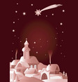 christmas village winter night laqndscape vector image vector image