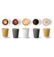 coffee to go cup paper cappuccino cups top and vector image