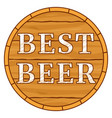 colorful carton best beer text on barrel vector image