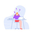 confused and stressed woman in office vector image