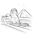Drawing pyramids and sphinx in giza egypt