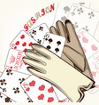 fashion background with gloves and playing cards vector image vector image