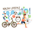 flat active lifestyle composition vector image vector image