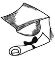 hand drawn doodle graduation cap vector image vector image