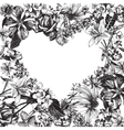 Heart silhouette on hand drawn floral background vector image vector image