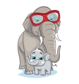 Image of mother elephant with baby elephant vector image vector image