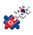 jigsaw of south korea and north korea vector image vector image