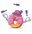 juggling donut mascot cartoon style vector image vector image
