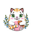 little cartoon cat or kitty clutching a fish vector image