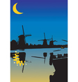 One night from the windmills vector image vector image