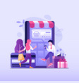 online payment concept with people shopping online vector image