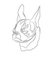 portrait of a dog that yawns lines vector image vector image