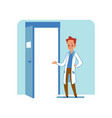 redhead caucasian male doctor or veterinarian in a vector image vector image