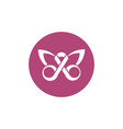 ribbon shaped butterfly breast cancer awareness vector image vector image