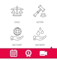 Save nature auction and scales of justice icon vector image vector image