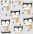 seamless childish winter pattern with creative vector image