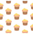 seamless pattern with cupcake in flat style vector image