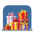 set colorful gift boxes with bows vector image