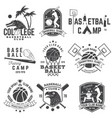 set of basketball and baseball badge emblem vector image