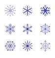 Set of nine snowflake flat icons vector image vector image