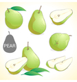 Set of pear fruit in various styles vector image vector image