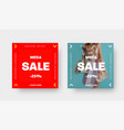 set square web banners for mega big sale with vector image