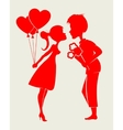 Silhouette inspired couple with flowers vector image