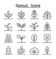 sprout icon set in thin line style vector image vector image