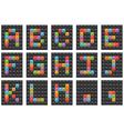 square alphabet set 1 vector image vector image