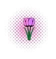 Violet tulip comics icon vector image vector image