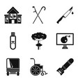 war tension icons set simple style vector image