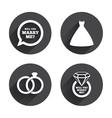 Wedding dress icon Bride and groom rings symbol vector image