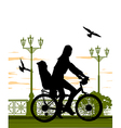 woman and baby on bike vector image vector image