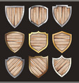 wooden and metal shield protected steel icon sign vector image