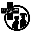 isolated black icon with veterinary care symbol vector image