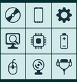 set of 9 computer hardware icons includes web vector image