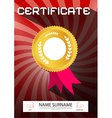 Certificate - A4 Paper on Retro Red Backgrou vector image