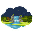 a river in nature landscape at night vector image