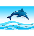 A sea with a big dolphin and a school of small vector image