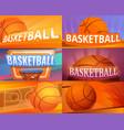 basketball banner set cartoon style vector image vector image