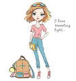 beautiful fashion girl travels the world vector image