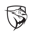 blue marlin jumping crest black and white vector image vector image