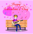boy playing guitar on a chair for valentines day vector image