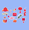 chinese new year stickers with red lantern vector image